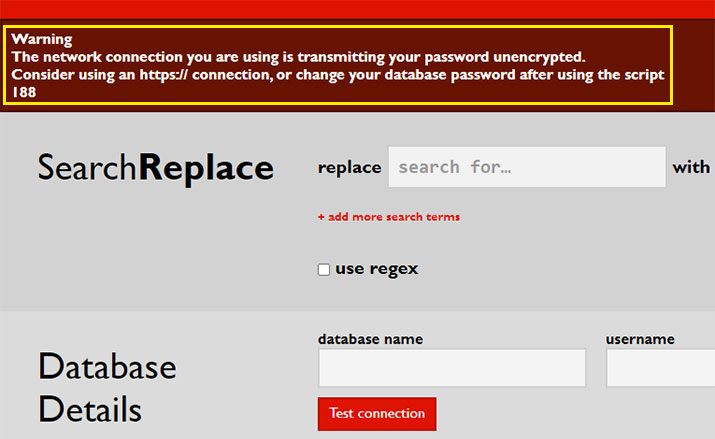 Warning The network connection you are using is transmitting your password unencrypted.『Search Replace DB』エラーの対処